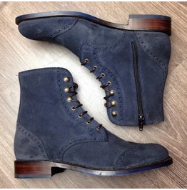 Handmade Men Navy Blue Suede Ankle Zipper Boots, Ankle High Boot