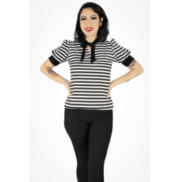 Pugsley Addams Inspired Top - Tie-Neck Blouse Lolita - Striped XS-3XL