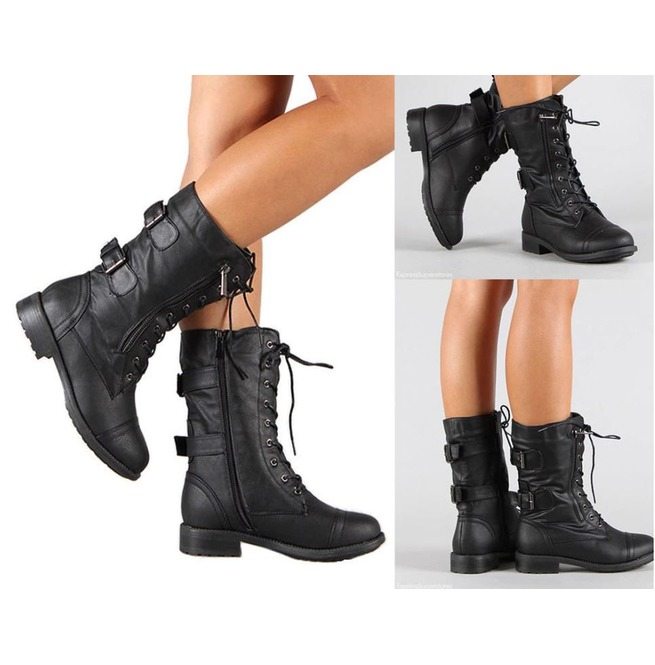 Mid Calf Lace up Side Zipper Buckle
