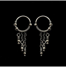 Sterling Silver Hoop Earrings With Dangling Chains