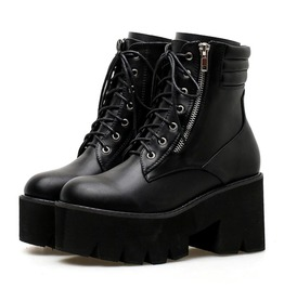 Lace Up Side Zipper Chunky Heels Motorcycle Ankle Boots