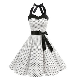 Steampunk Punk Polka Dot Halter Neck Belted Vintage Dress