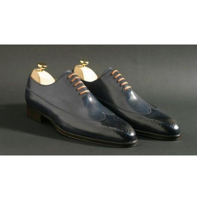 Handmade Men Navy Blue Shoes, Men Dress