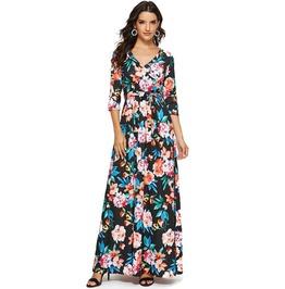 Boho V-Neck Floral Wrap Maxi Dress