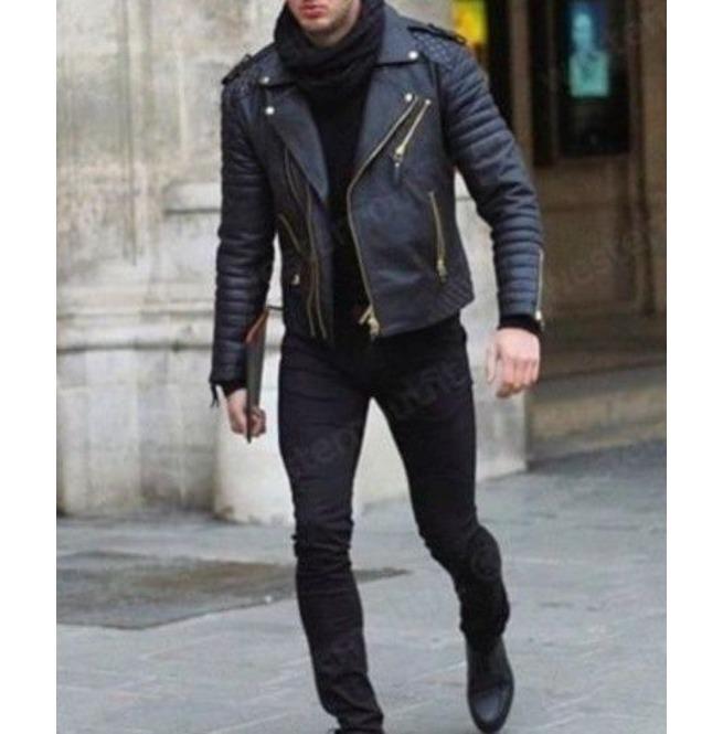 Mane Black Motorcycle Fashion Leather Jacket Men Biker Style Fashion Jacket