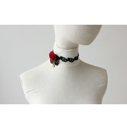 Red Rose Black Lace Gothic Style Necklace