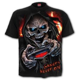 Gothic Streetwear Gamers Never Die Skeleton 3 D Print Pure Cotton Short Sleeve Shirt