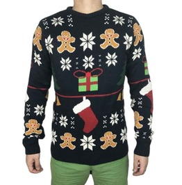 Black Funny Print Standard Wool Knitted Christmas Sweater