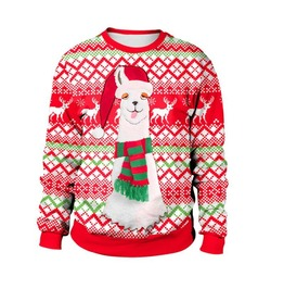 Round Neck Geometric Pattern Funny Print Christmas Sweater