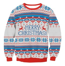 Funny Cartoon Print Geometric Pattern Round Neck Christmas Sweater.