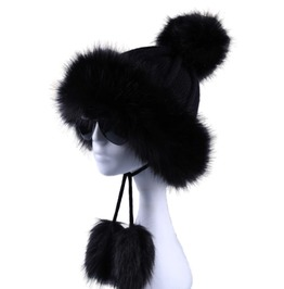 Knitted Faux Fur Pompom Wool Bomber Hat