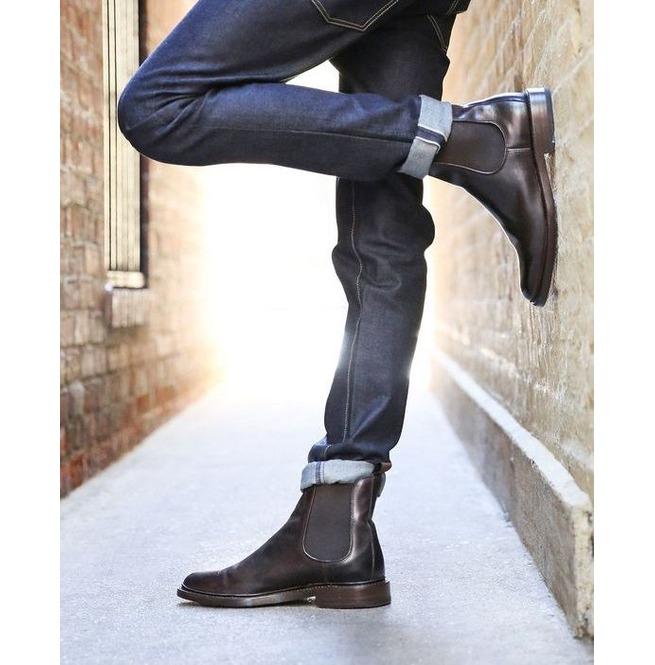 Handmade Men Black Chelsea Boots, Men