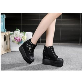 Casual Thick Wedge Platform Lace up Zippy Women Sneakers