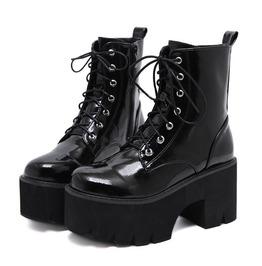 Black Gothic Punk Lace Up Zipper Platform Ankle Boots