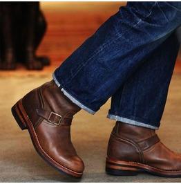Handmade mens antique brown leather biker boots men leather motorcycle boot rebelsmarket