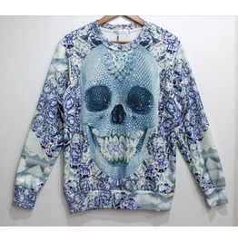 Light Blue Skull Geometric Pattern Sweatshirt