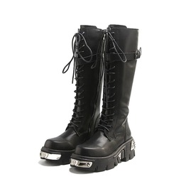 Thick heel metal buckle lace up knee high knight boots rebelsmarket