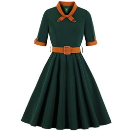 Vintage Bow Tie Short Sleeves Belted Green Dress