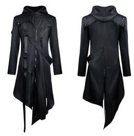 Mens Hooded Jacket Black Goth Dieselpunk Dystopian Apocalyptic Hoodie