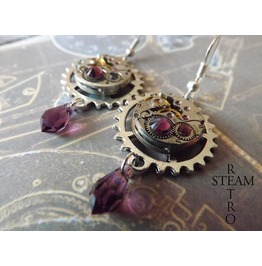 Steampunk Watch Movement Amethyst Swarovski Earrings