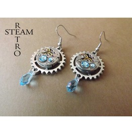 Watch Movement Aquamarine Swarovski Steampunk Earrings