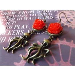 Nautilus Nightmare Steampunk Earrings Red