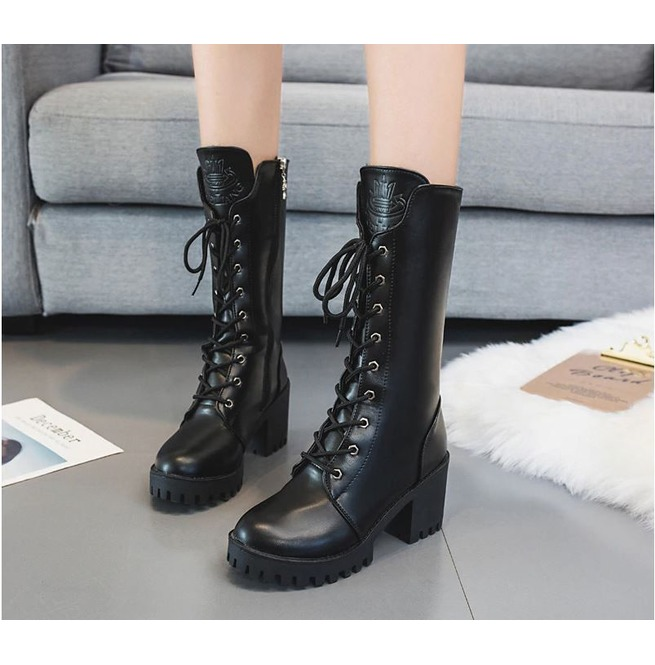 Chunky Heel Mid Calf Lace up Side