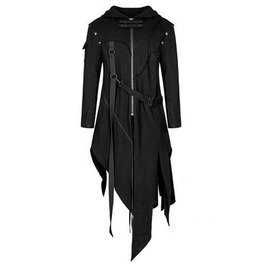 Gothic Punk Vintage Retro Irregular Length Zipper Strap Hooded Coat