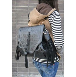 Large Skull Head Print Tassel Backpack Shoulder Handbag