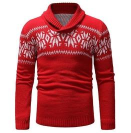 Long Sleeve Computer Knitted Mistletoe Print Wool Sweater