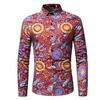 Multi floral design single breast long sleeve slim fit shirt rebelsmarket
