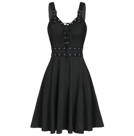 Lace up Sleeveless Buckle Strap Shoulder Casual Dress