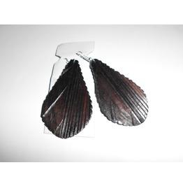 2 Handmade Black Wood Big Earrings