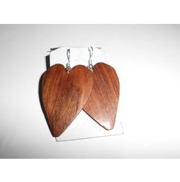 3 Handmade Shifuta Heart Wood Big Earrings