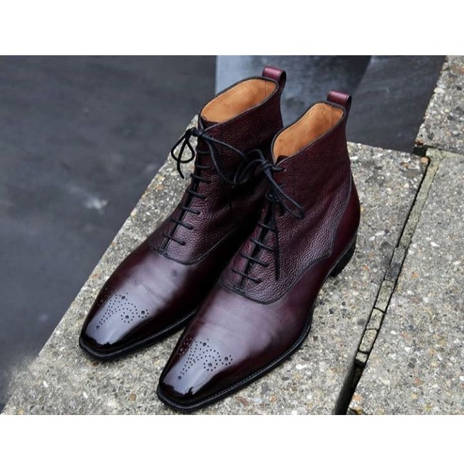 Handmade Burgundy Men/'s Patent Leather Burgundy Colour Marching Boots