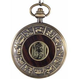 Hand-Wind Mechanical Hollow Pocket Watch Vintage Constellation Wood Grain