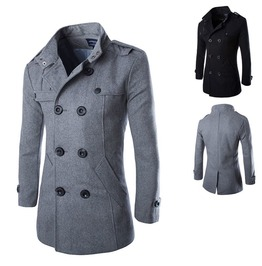 Men's Turn Down Collar Double Breasted Three Quarter Coat