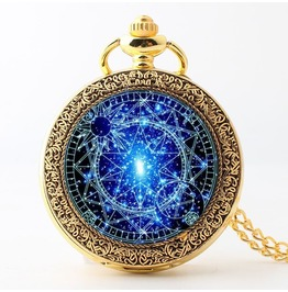 Stained glass magic circle quartz pocket watch necklace pendant in box rebelsmarket