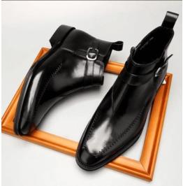Handmade Mens Black Side Zipper Rock Style Boots, Men Leather Jodhpurs Boot