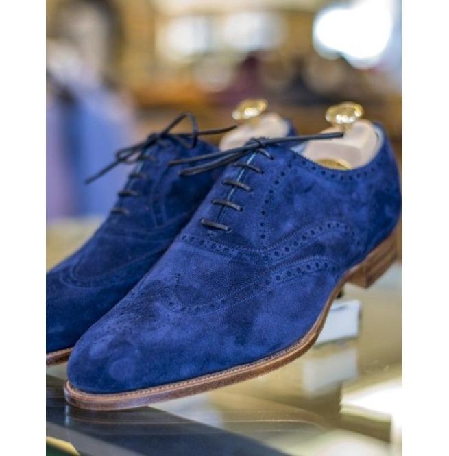 Handmade Men's Royal Blue Suede Shoes