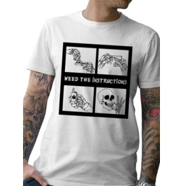 """New Men's """"WEED THE INSTRUCTIONS"""" White T- Shirt"""