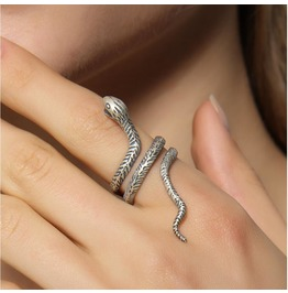 S 925 Sterling Silver Retro Snake Ring Jewelry