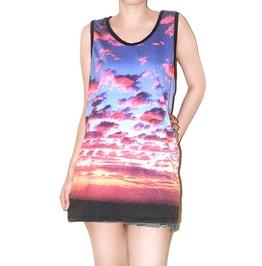 Sunset Sky Clouds Black Tunic Singlet Tank Top Shirt L