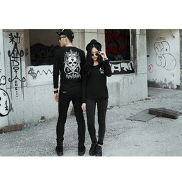 Punk Skull Pattern Long Sleeved Shirt