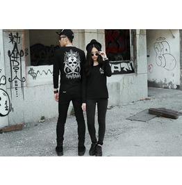 Punk Skull Pattern Long Sleeved Shirt