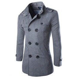 Men's Turn Down Collar Double Breasted Three Quarter Slim Fitted Coat
