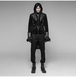 Men's Gothic Brocade Trimmed Swallow Tail Coat