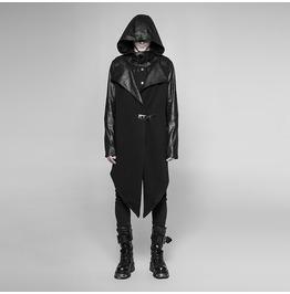 Men's Punk Hooded Asymmetric Coat