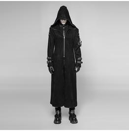 Men's Gothic Hooded Zip-Up Long Coat