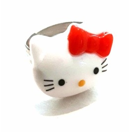 CUTE Silver Tone Metal Adjustable Ring Size 6 Red Bow Hello Kitty Design